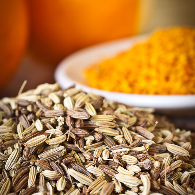 """Fennel seeds and dry orange rind."" stock image"