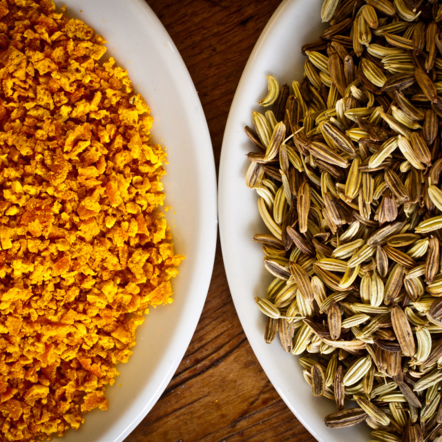"""Fennel seeds and dry orange rind"" stock image"