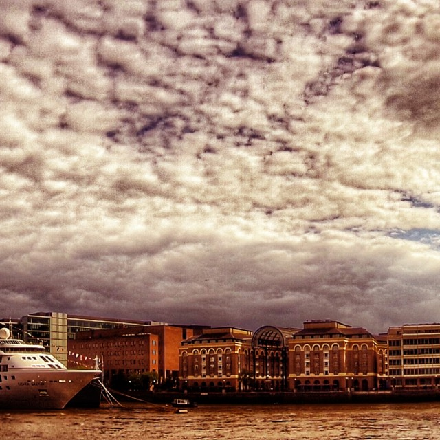 """Cruise ship in London panorama"" stock image"