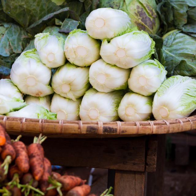 """""""Lettuce at market in Myanmar"""" stock image"""