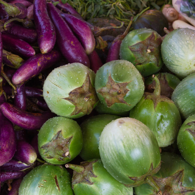 """""""Green and purple aubergines"""" stock image"""