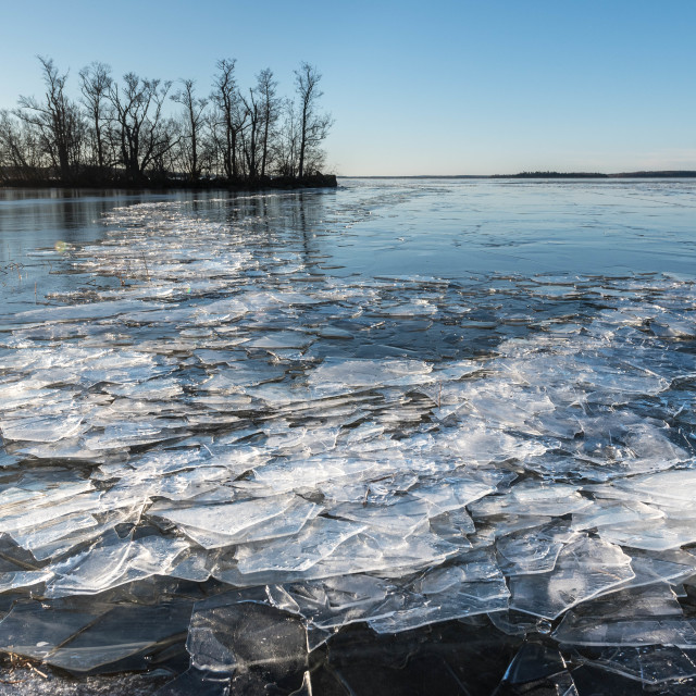 """Ice on a lake in Sweden"" stock image"
