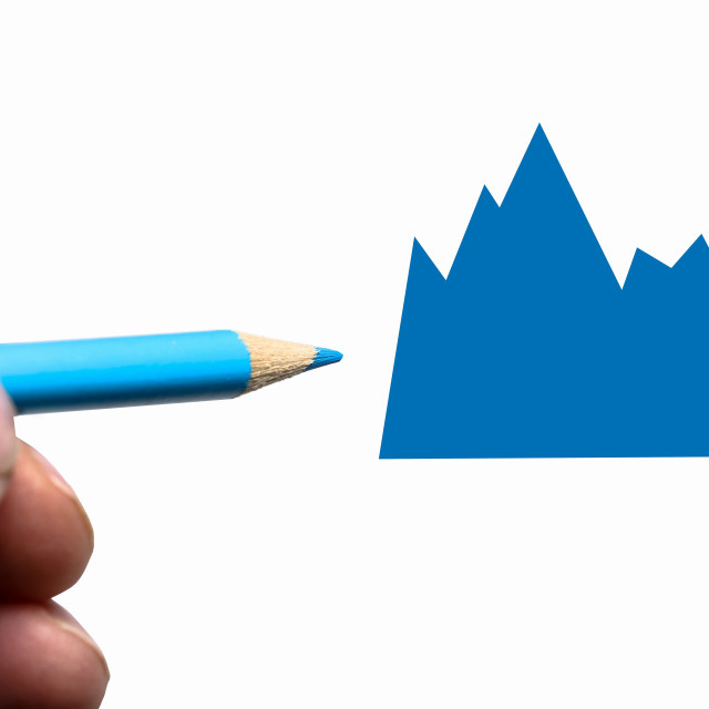 """Hand with blue pencil and graph"" stock image"