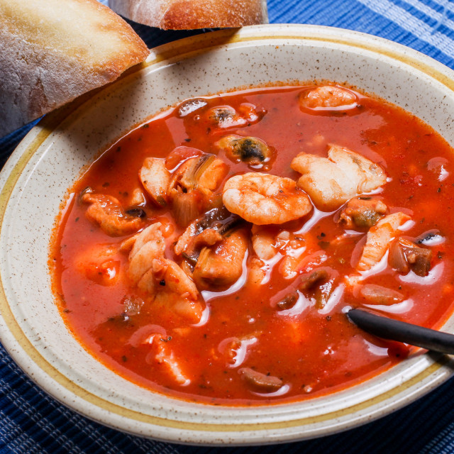 """""""Delicious fisherman stew with bread on plate"""" stock image"""