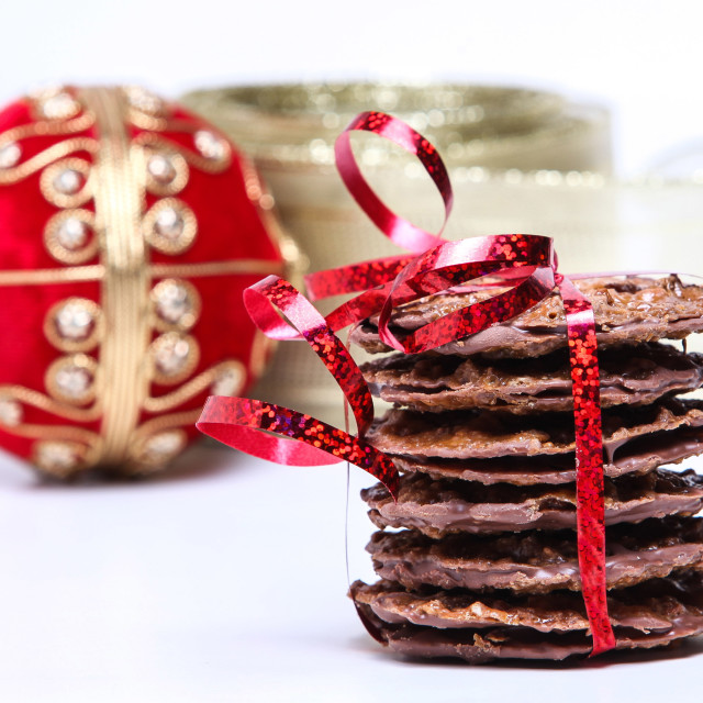 """Chocolate cookies with red ribbon"" stock image"