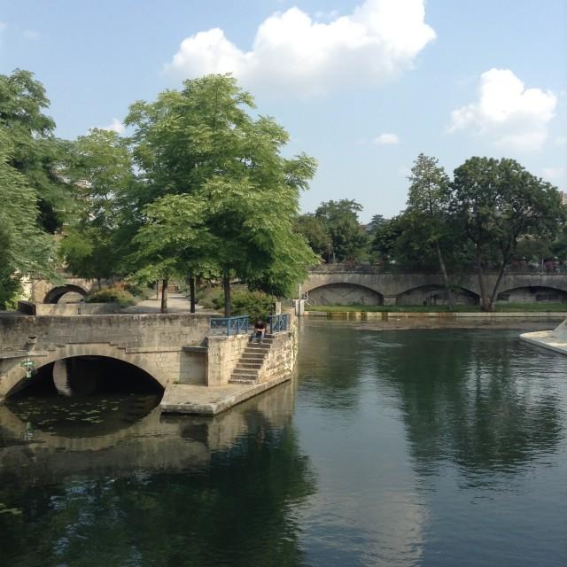 """French Village Bridge"" stock image"