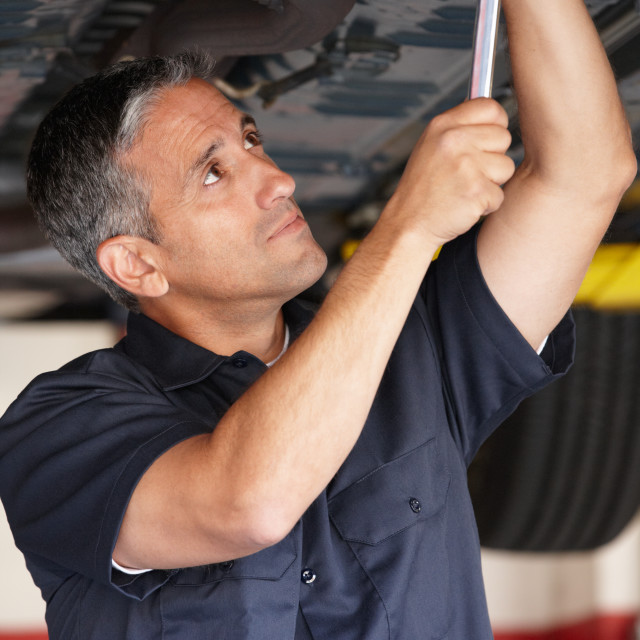 """Mechanic at work"" stock image"