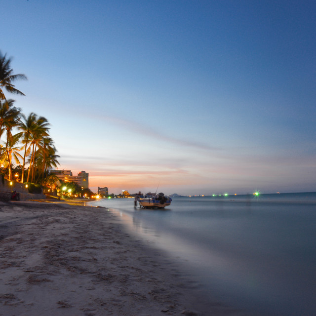 """sunset at hua hin beach"" stock image"