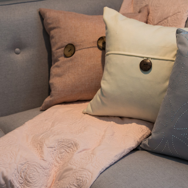 """Pillows on a Couch"" stock image"