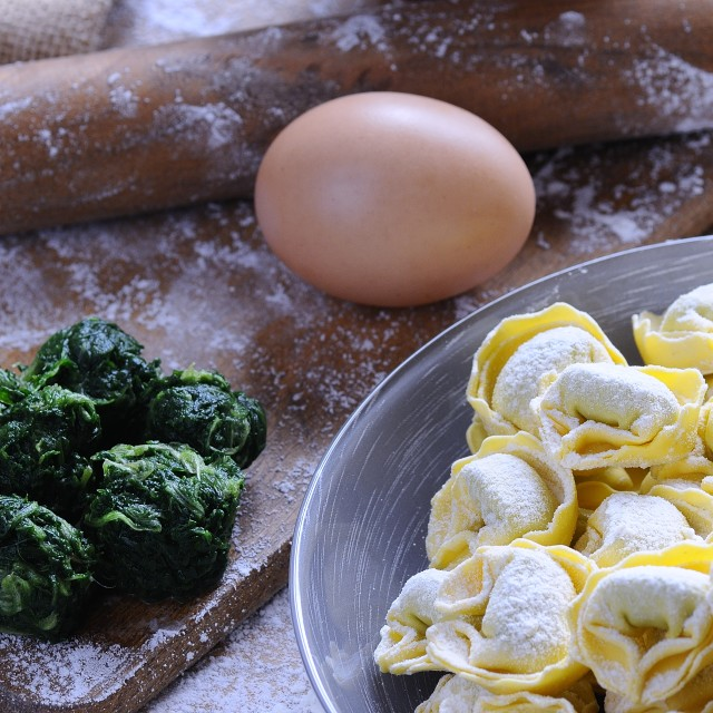 """""""Preparing homemade tortellini."""" stock image"""