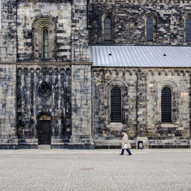 """Poplin man and the cathedral"" stock image"