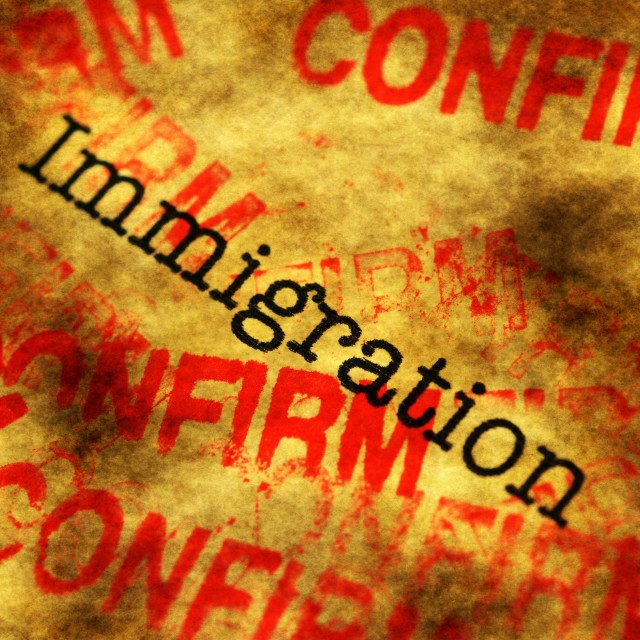 """""""Immigration confirm"""" stock image"""