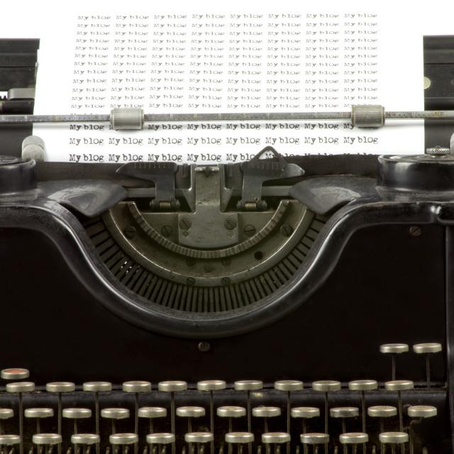 """""""Old typewriter, my blog"""" stock image"""