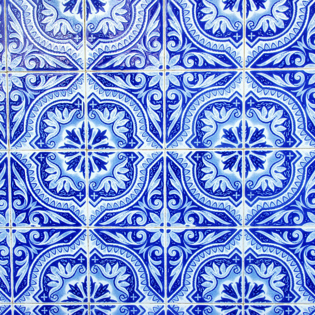 """Portuguese blue tiles close-up"" stock image"