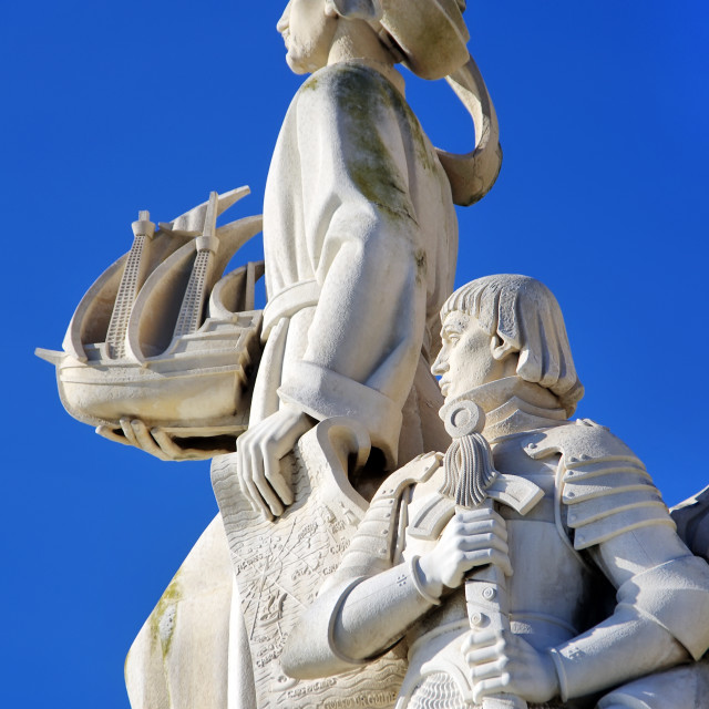 """Sculpture on the Discoveries monument in Lisbon, Portugal"" stock image"
