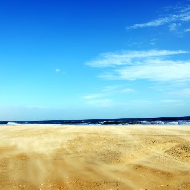 """Wind on sand in Algarve beach, Portugal"" stock image"