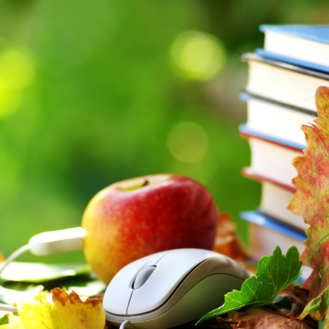 """""""Mouse, books and red apple."""" stock image"""