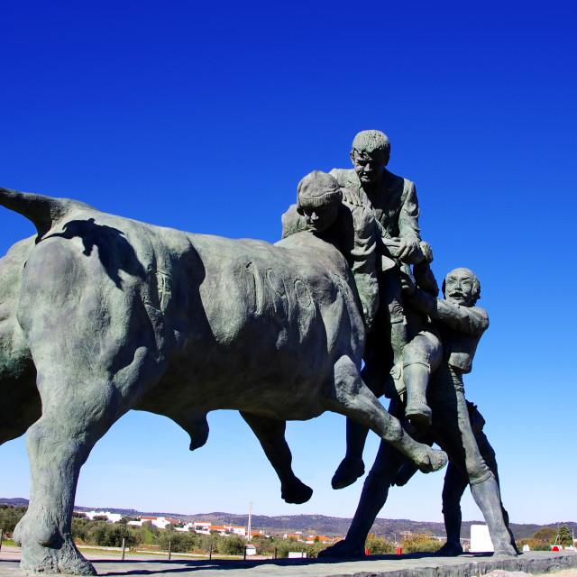 """Portuguese bullfighting sculpture, Amieira village, Portugal"" stock image"