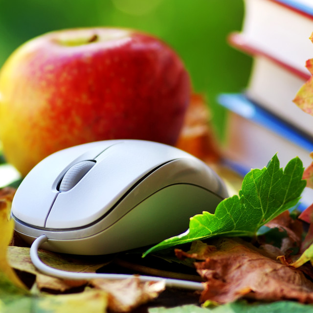 """""""Mouse and red apple on leaves."""" stock image"""