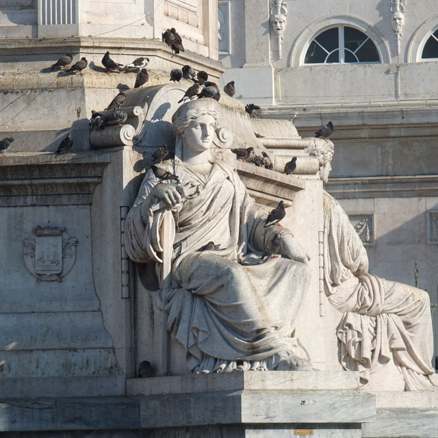 """Rossio Statue With Pidgeons"" stock image"