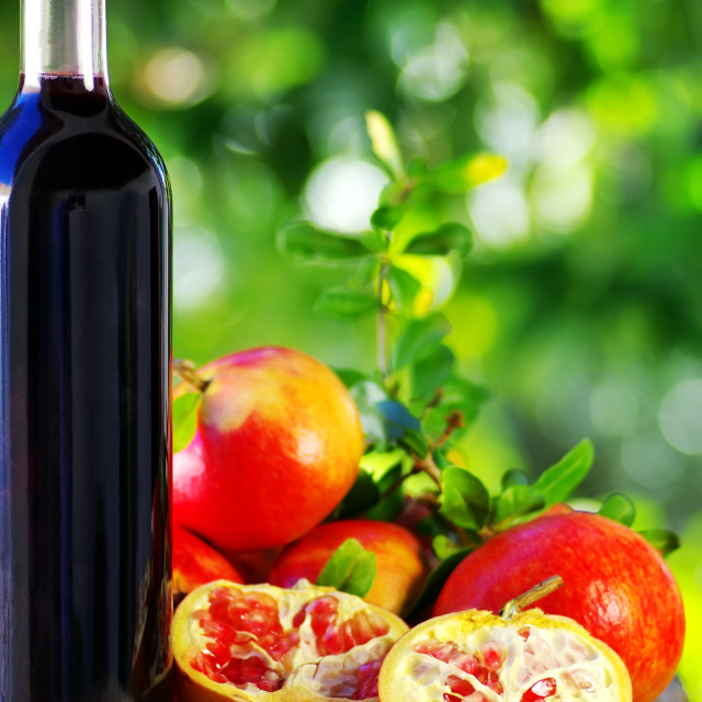 """""""Red wine and pomegranates"""" stock image"""