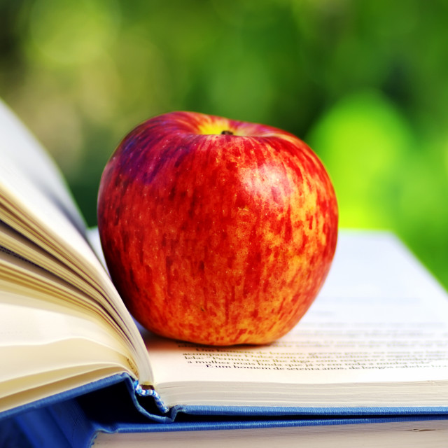 """""""Apple on open book"""" stock image"""