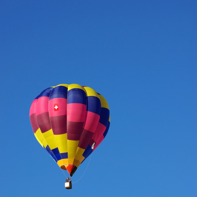 """Hot air balloon in the blue sky"" stock image"