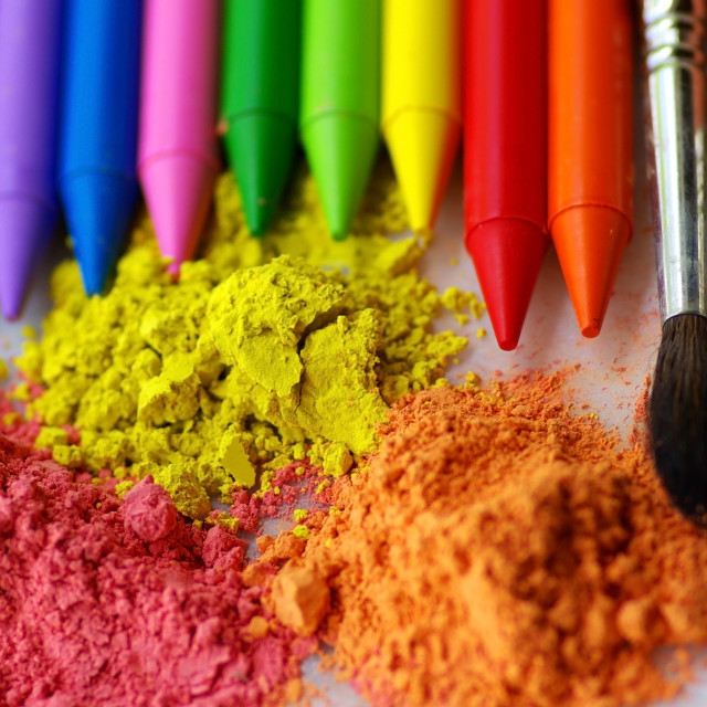 """Two brushes, colorful ink for painting and pencils."" stock image"