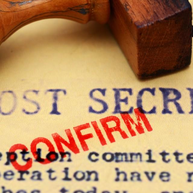 """""""Most secret confirm"""" stock image"""