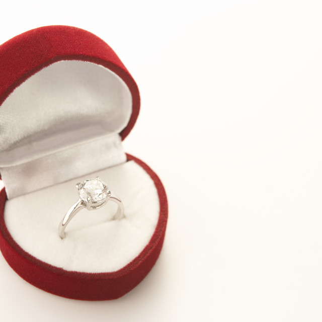 """Diamond Engagement In Heart Shaped Ring Box"" stock image"