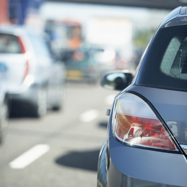 """""""Cars Lined Up In A Traffic Jam On A Highway"""" stock image"""
