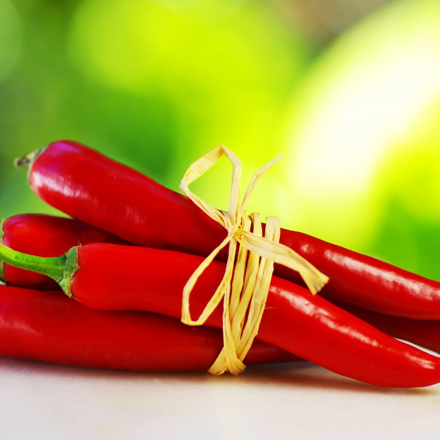"""Red hot chili peppers tied with rope"" stock image"