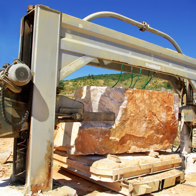 """Machinery in quarry of marble extraction."" stock image"