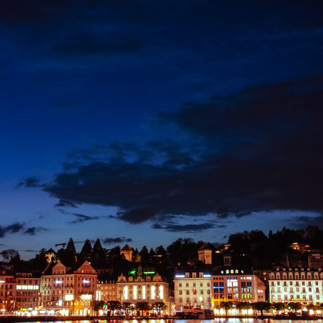 """Lucerne by night"" stock image"