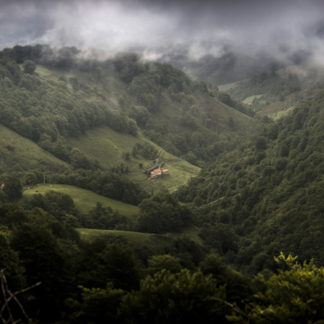 """Small House in a Big Valley"" stock image"