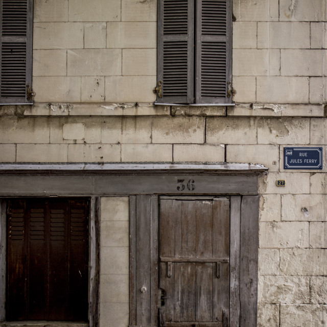 """""""The First House on Rue Jules Ferry Street"""" stock image"""