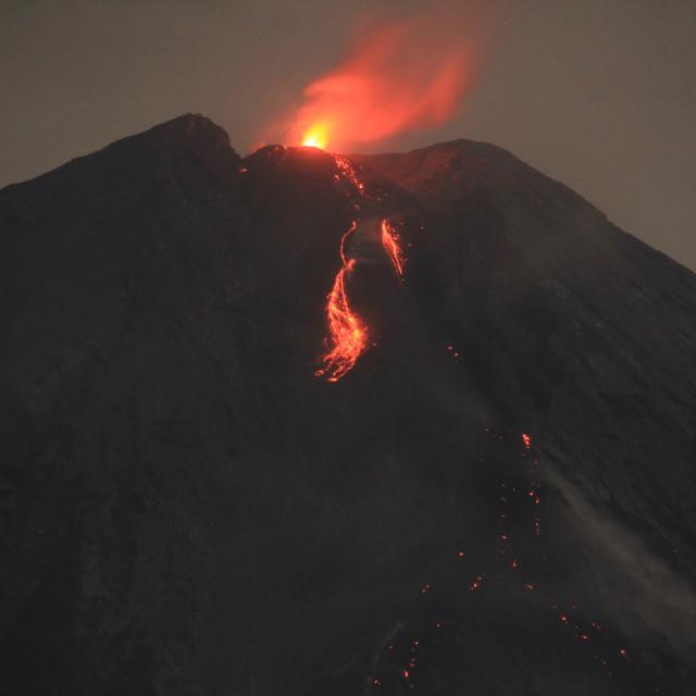"""Red hot Lava of Mount of Semeru."" stock image"