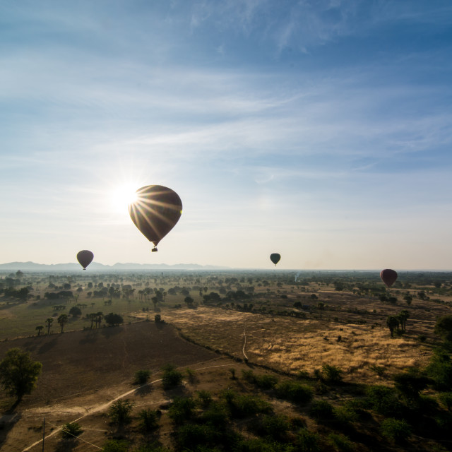 """Balloon Over Bagan Plains"" stock image"