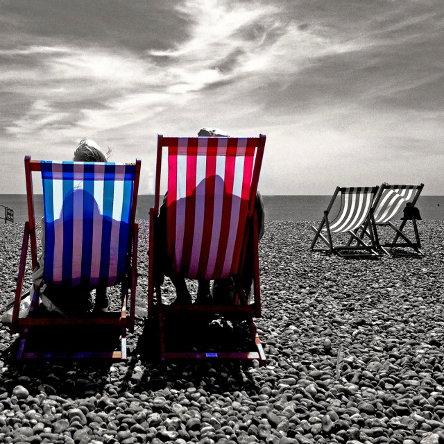 """Deck Chairs on Brighton beach"" stock image"