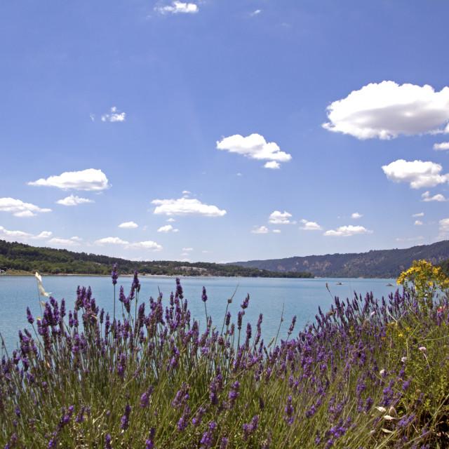 """""""Provence, Saint Croix lake"""" stock image"""