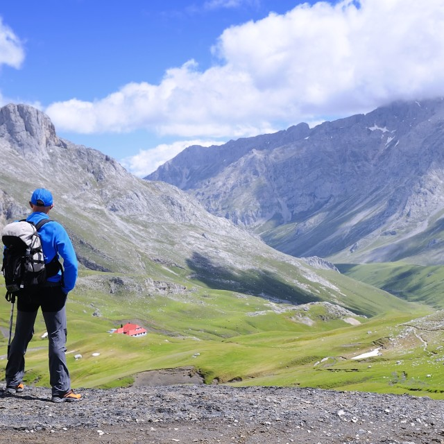"""Man on mountain pass of Aliva."" stock image"