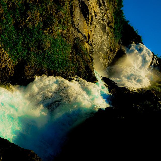 """""""Kjosfossen waterfall"""" stock image"""