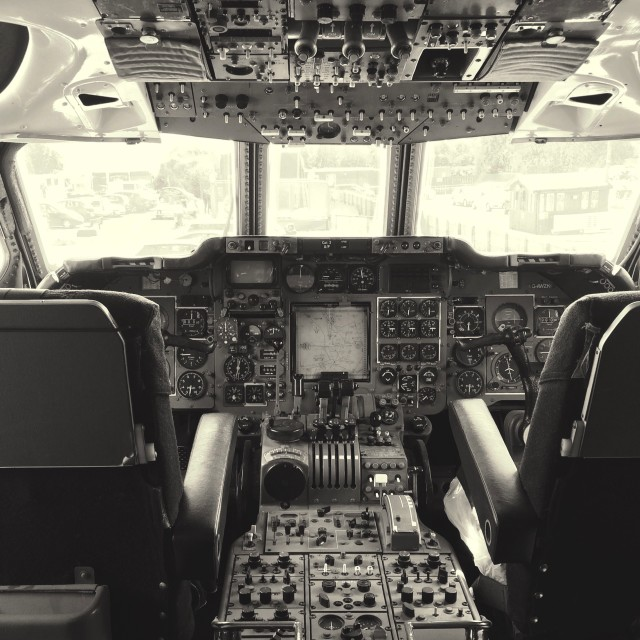 """""""The cockpit of a Hawker Siddley Trident"""" stock image"""