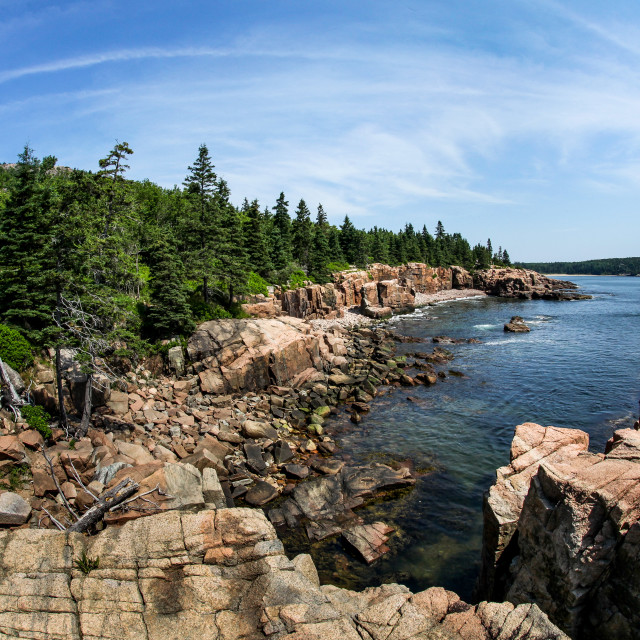 """Acadian rocky coast in Maine"" stock image"