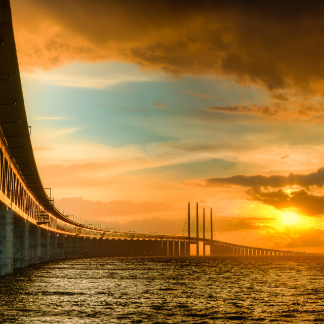 """Sunset by the bridge"" stock image"