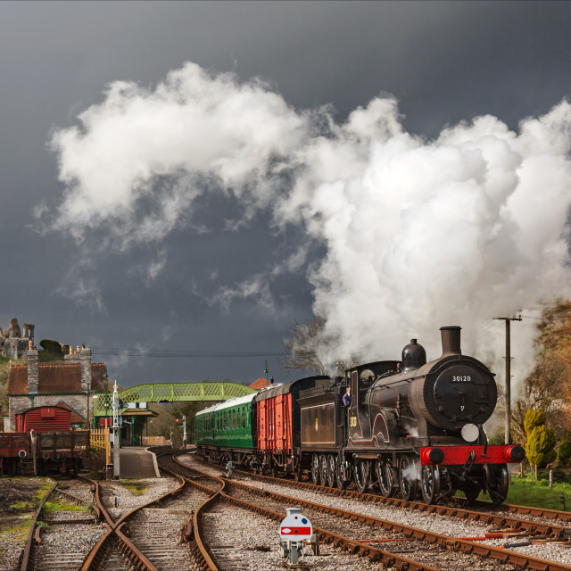 """Running ahead of the storm at Corfe Castle"" stock image"