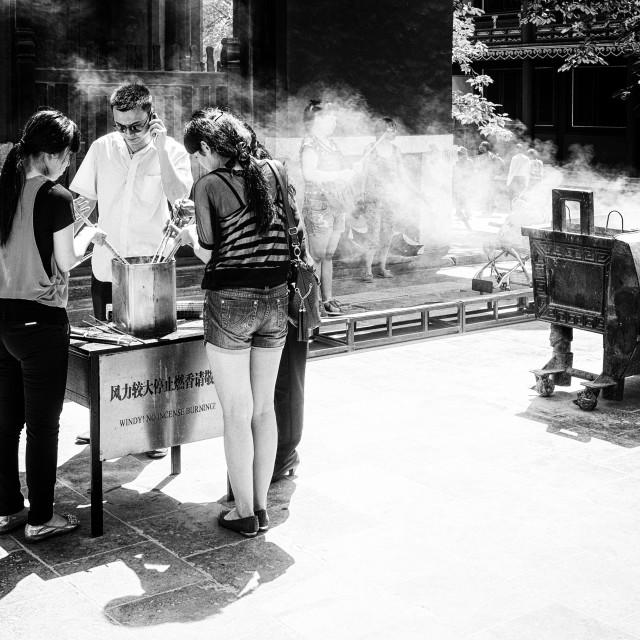"""""""Burning incense"""" stock image"""