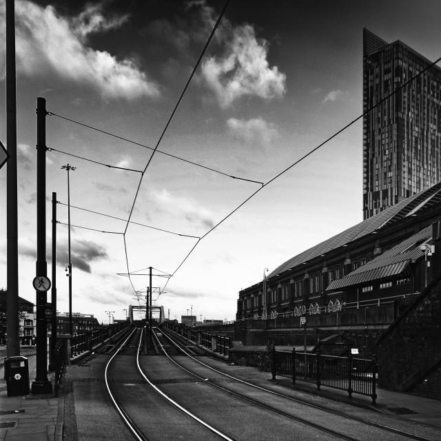 """Tram tracks, Manchester"" stock image"