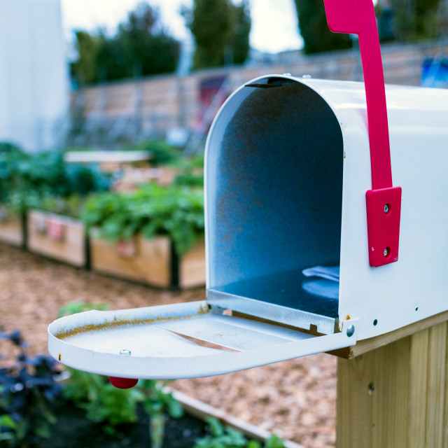 """open mailbox in garden"" stock image"