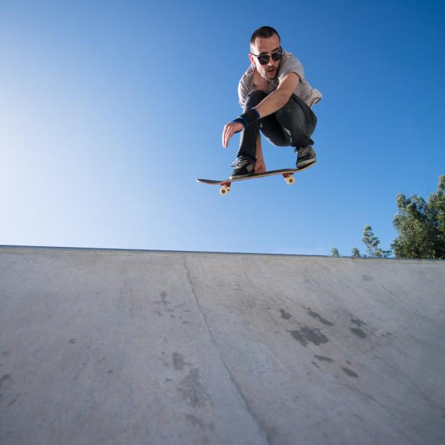 """""""Skateboarder flying"""" stock image"""